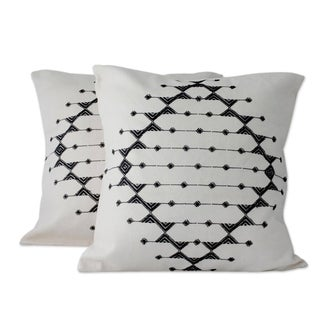 Pair of 2 Cotton Cushion Covers, 'Monochrome Galaxy' (India)