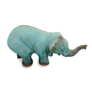 Ceramic Statuette, 'Turquoise Elephant Sawasdee' (Thailand)