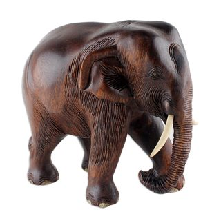 Wood Sculpture, 'Gentle Thai Elephant' (Thailand)