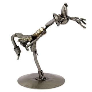Handmade Upcycled Auto Part Sculpture, 'Yaqui Deer Dancer' (Mexico)