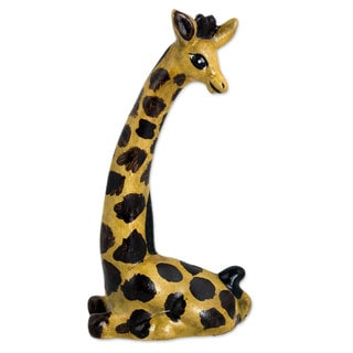 Ceramic Sculpture, 'Smiling Giraffe' (Mexico)