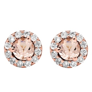 14k Rose Gold 5/8ct TGW Round-cut Morganite and White Diamond Cluster Halo Stud Earrings (I-J, I2-I3)