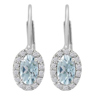 14k Gold 1/2ct TGW Oval-cut Aquamarine and Round-cut White Diamond Halo Hoop Earrings (I-J, I2-I3)