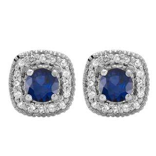 10k White Gold 3/4ct TGW Round-cut Blue Sapphire and White Diamond Halo Stud Earrings (I-J, I2-I3)