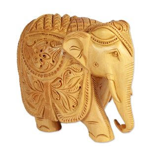 5-Inch Wood Sculpture, 'Majestic Elephant' (India)