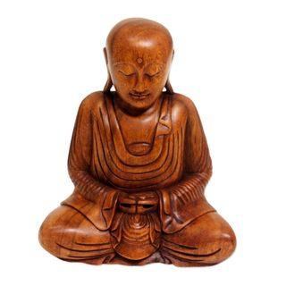 Wood Sculpture, 'Samadhi Buddha' (Indonesia)