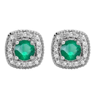 10k White Gold 3/4ct TGW Round-cut Emerald and White Diamond Halo Stud Earrings (I-J, I2-I3)