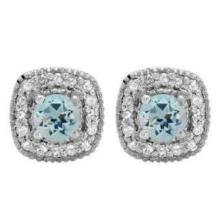 Sterling Silver 3/4ct TGW Round-cut Aquamarine and White Diamond Halo Stud Earrings (I-J, I2-I3)