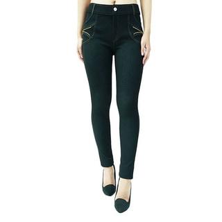Indero Women's Polyester and Spandex Zipper-trim Denim Jeggings