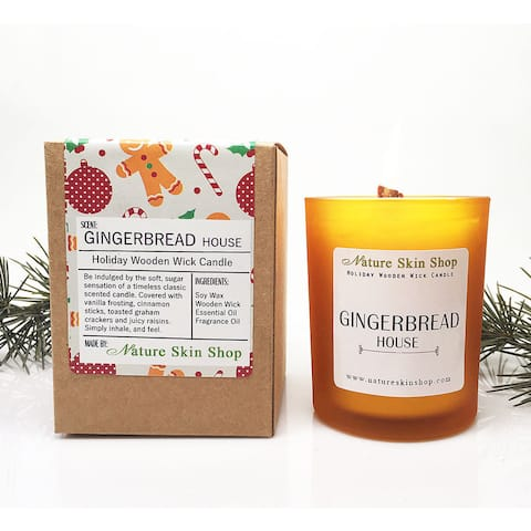 Gingerbread House Wooden Wick Candle