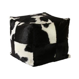 Cowhide Black and White 20-inch x20-inch x20-inch Pouf