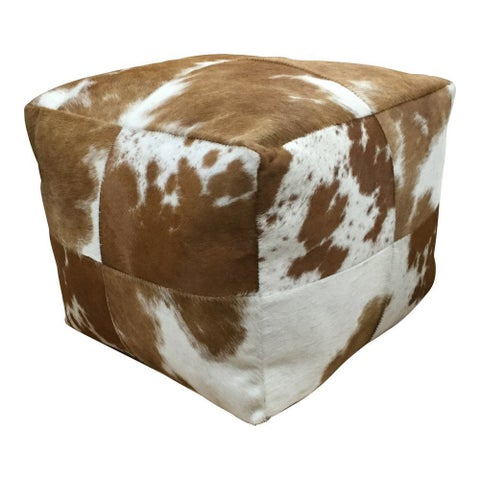 Brown/White Cowhide 20-inch x 20-inch x 20-inch Pouf