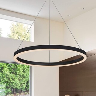 VONN Lighting Tania VMC31640BL 24-inch LED Modern Circular Chandelier Light Fixture with Adjustable Suspension