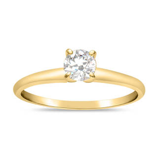 14k Yellow Gold Eco-friendly 1/2ct Lab Grown Diamond Solitaire Ring (J-K, SI1-SI2) - White J-K