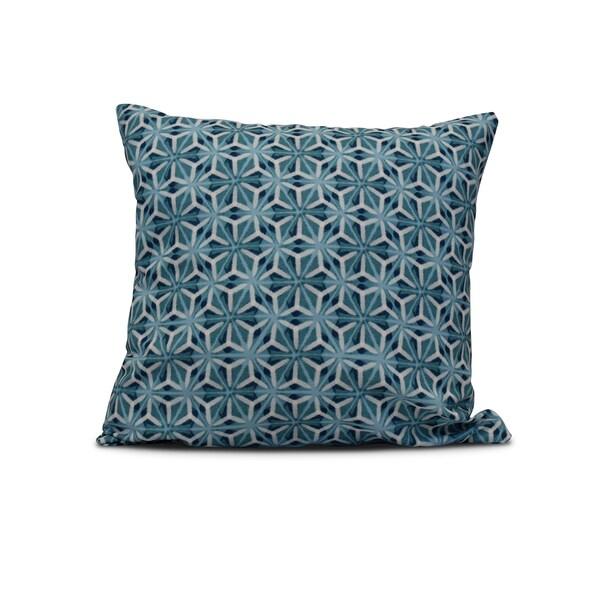 16-inch Water Mosaic Geometric Print Outdoor Pillow