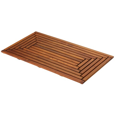 Bare Decor Oiled Finish Solid Teak Wood Giza Shower, Spa, Door Mat