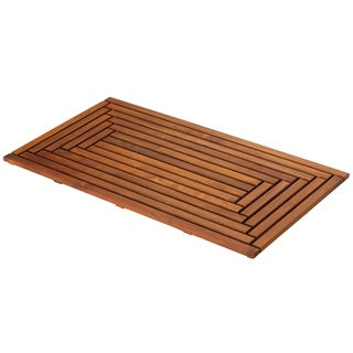 Bare Decor Oiled Finish Solid Teak Wood Giza Shower, Spa, Door Mat