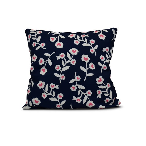 18-inch Valentines Floral Holiday Floral Print Outdoor Pillow