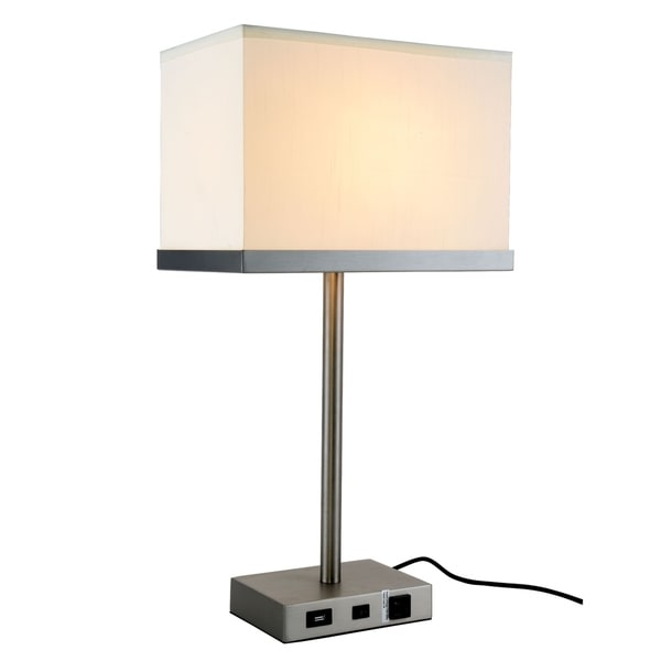Somette Verona Collection 1-Light Vintage Nickel Finish Table Lamp