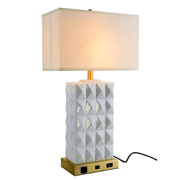 Somette Verona Collection 1-Light Brushed Brass and White Finish Table Lamp