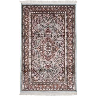ecarpetgallery Kashmir Blue, Brown Silk Rug (3'11 x 6'2)