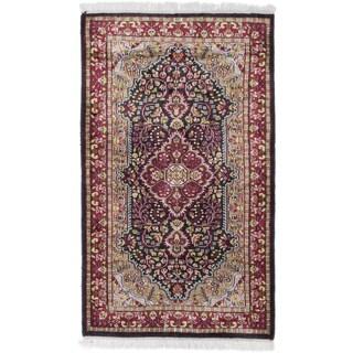 ecarpetgallery Kashmir Black Silk Rug (2'7 x 4'5)