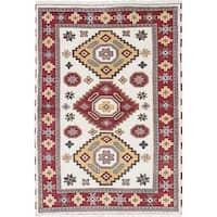 ecarpetgallery Royal Kazak Blue, Red Wool Rug - 4'2 x 6'0