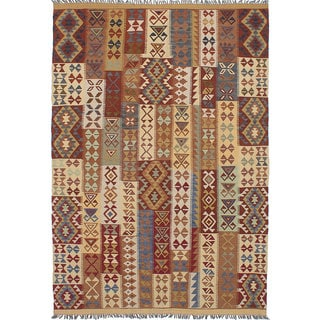 ecarpetgallery Hereke Kilim Ivory, Red Wool Kilim (6'9 x 9'6)