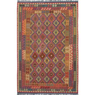 ecarpetgallery Anatolian Kilim Blue, Red Wool Kilim (6'7 x 10'0)