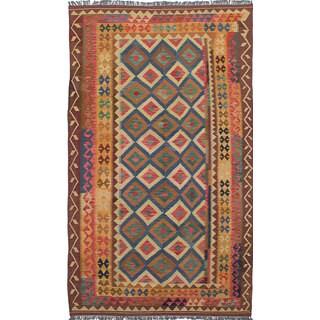 ecarpetgallery Anatolian Kilim Blue, Red Wool Kilim (5'10 x 10'0)