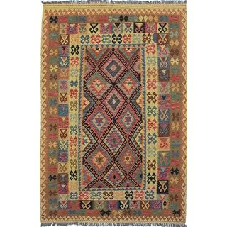 ecarpetgallery Anatolian Kilim Red, Yellow Wool Kilim (6'7 x 9'11)