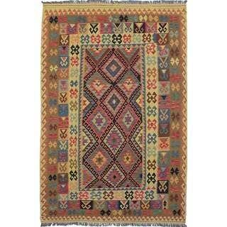 ecarpetgallery Anatolian Kilim Red, Yellow Wool Kilim Rug - 6'7 x 9'11