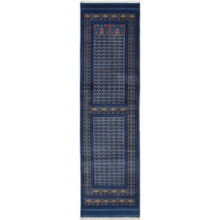 ecarpetgallery Peshawar Bokhara Blue Wool Rug (2'8 x 9'7)