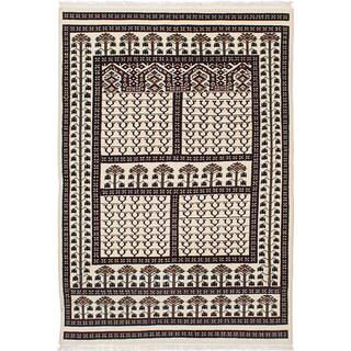 ecarpetgallery Peshawar Bokhara Ivory Wool Rug - 4'2 x 6'0