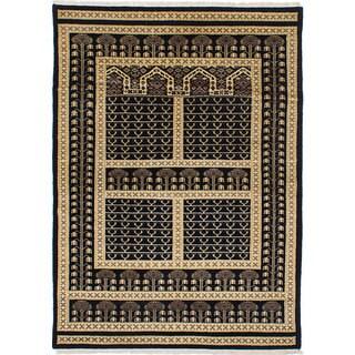 ecarpetgallery Peshawar Bokhara Black Wool Rug (4'3 x 5'10)
