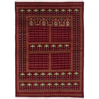 ecarpetgallery Peshawar Bokhara Red Wool Rug (4'2 x 5'10)