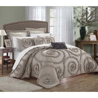 Chic Home 11-Piece Rosamond Taupe Comforter Set