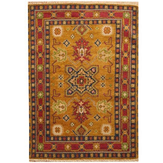 Herat Oriental Indo Hand-knotted Tribal Kazak Wool Rug (4'2 x 6'1)