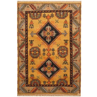 Herat Oriental Indo Hand-knotted Tribal Kazak Wool Rug (4'3 x 6')