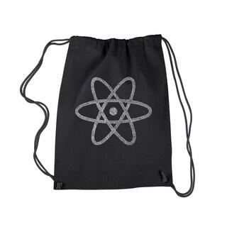 Los Angeles Pop Art Black Cotton Atom Drawstring Backpack