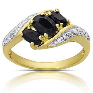 Dolce Giavonna Gold Over Sterling Silver Sapphire and Diamond Accent Three Stone Ring