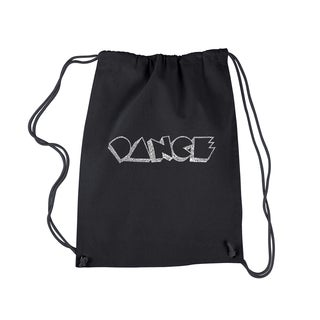 LA Pop Art 'Different Styles of Dance' Black Cotton Drawstring Backpack