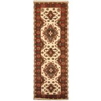 Herat Oriental Indo Hand-knotted Tribal Kazak Wool Runner (3' x 8'3)