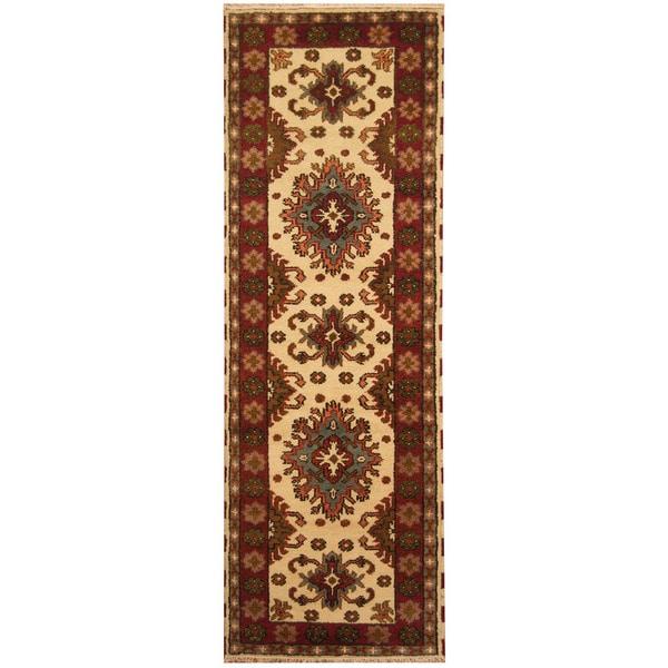 Handmade Herat Oriental Indo Tribal Kazak Wool Runner - 2'10 x 8'4 (India)