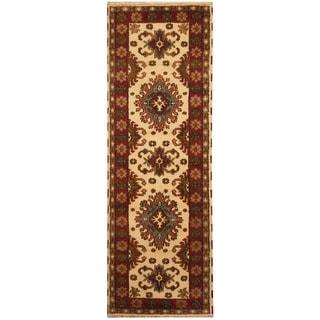 Herat Oriental Indo Hand-knotted Tribal Kazak Wool Runner (2'10 x 8'4)