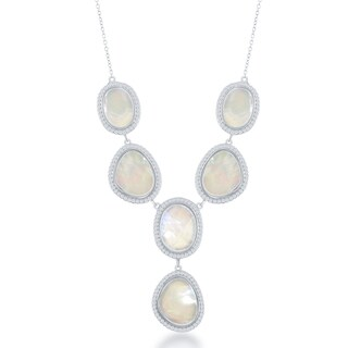 La Preciosa Sterling Silver, Yellow Gold Over Sterling Silver Mother of Pearl and Cubic Zirconia Heavy Fashion Necklace