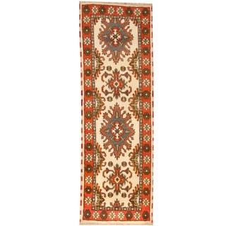 Herat Oriental Indo Hand-knotted Tribal Kazak Wool Runner (2'8 x 8'1)