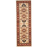 Herat Oriental Indo Hand-knotted Tribal Kazak Wool Runner (2'9 x 8'3) - 2'9 x 8'3