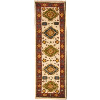 Herat Oriental Indo Hand-knotted Tribal Kazak Wool Runner (2'9 x 8'4)