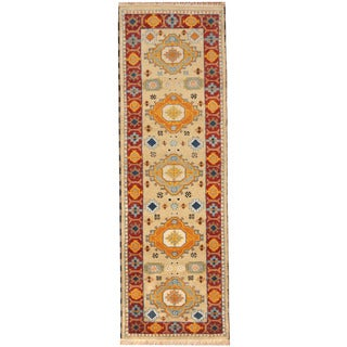 Herat Oriental Indo Hand-knotted Tribal Kazak Wool Runner (2'9 x 8'5)